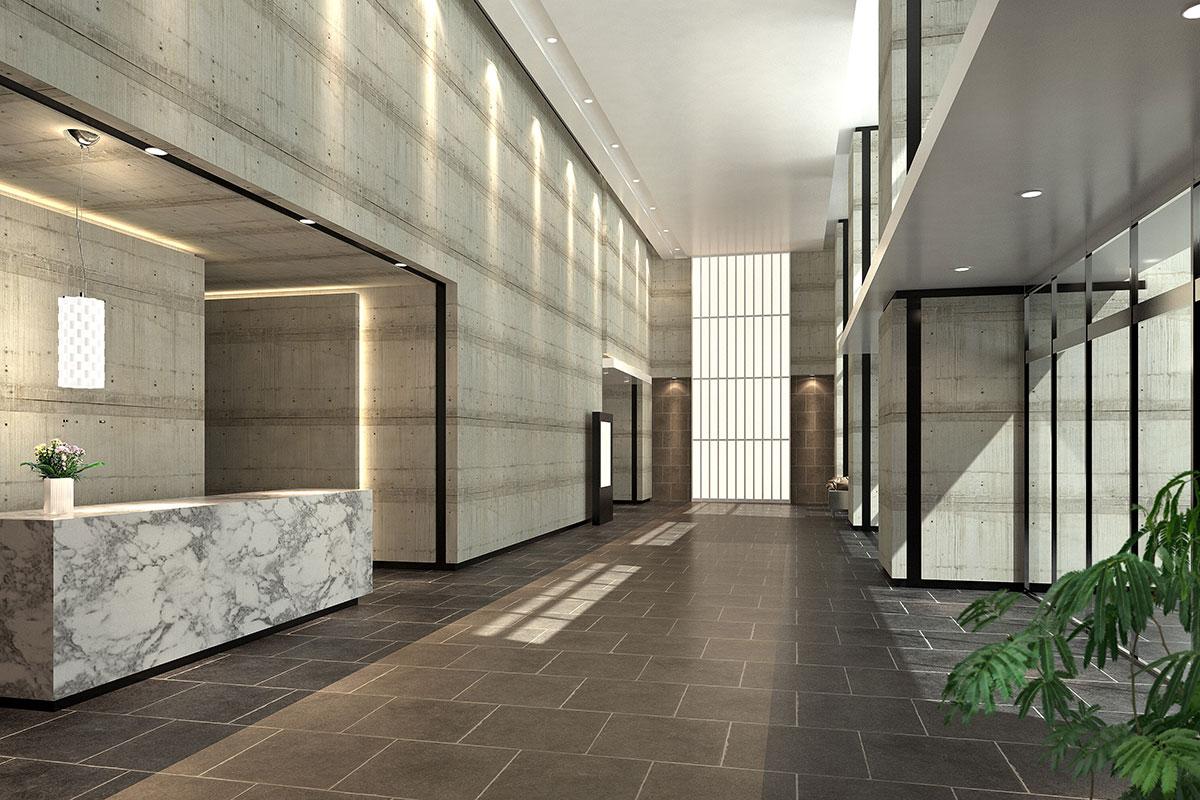 エントランスホールの建築パース
