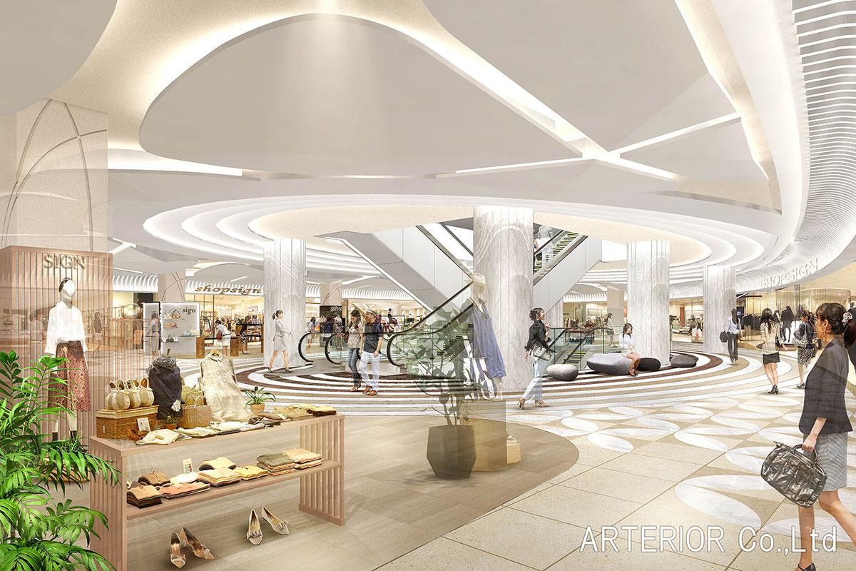 ショッピングモールの建築パース