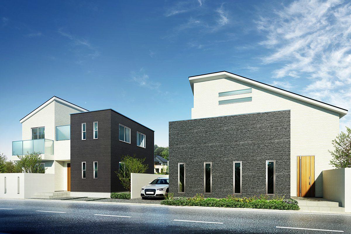 2棟住宅外観建築パース
