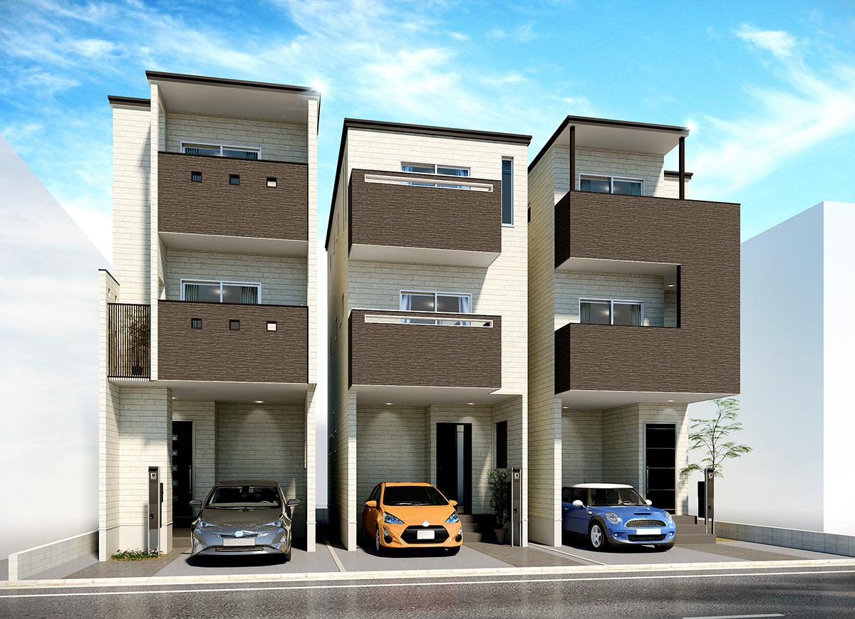 HO-13 | 3棟住宅パース
