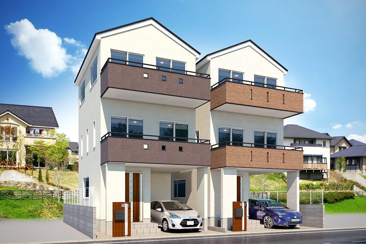 2棟住宅パース制作事例