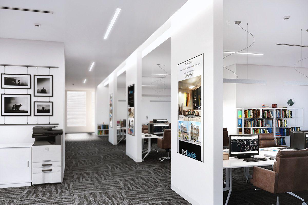 オフィス内観インテリア建築パース